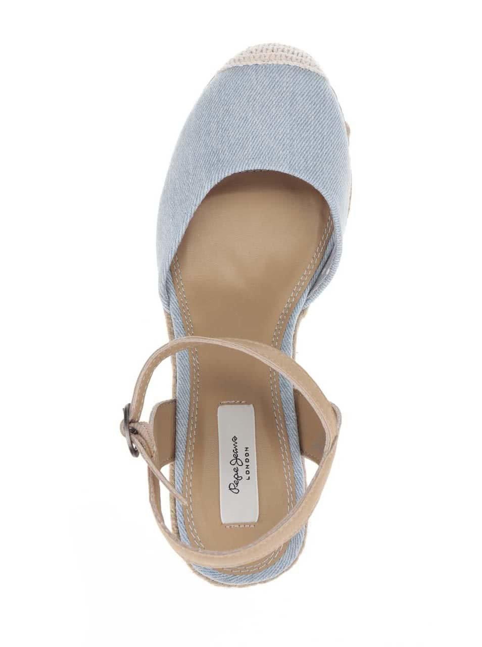 dalsi obrazek Světle modré dámské džínové sandály na klínku Pepe Jeans  Kinney 6e1c5436f8