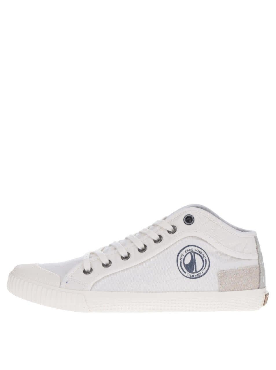 Bílé pánské tenisky s logem Pepe Jeans Industry Tenugui