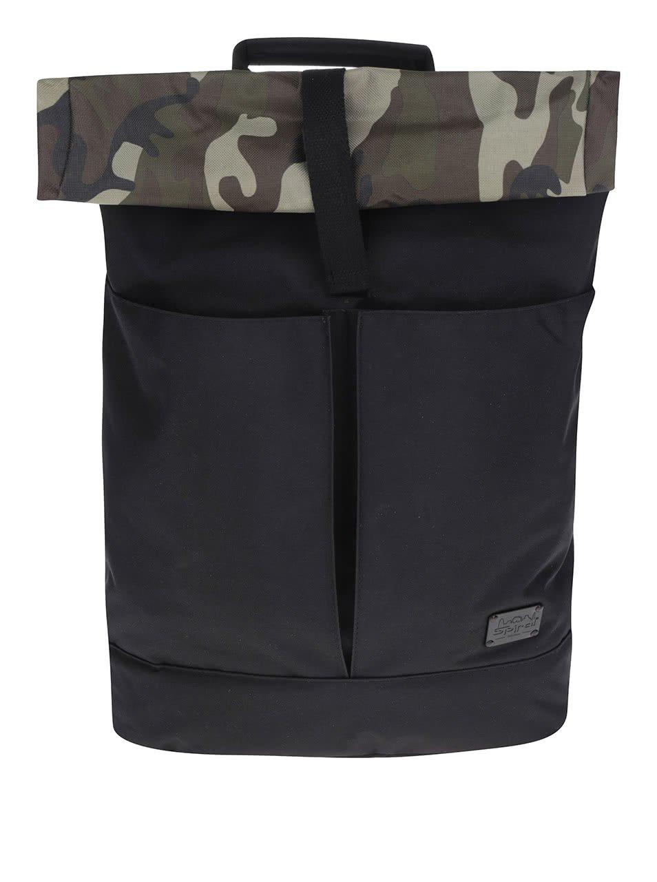 Černý vzorovaný unisex batoh s klopou Spiral Camo Jungle 15 l