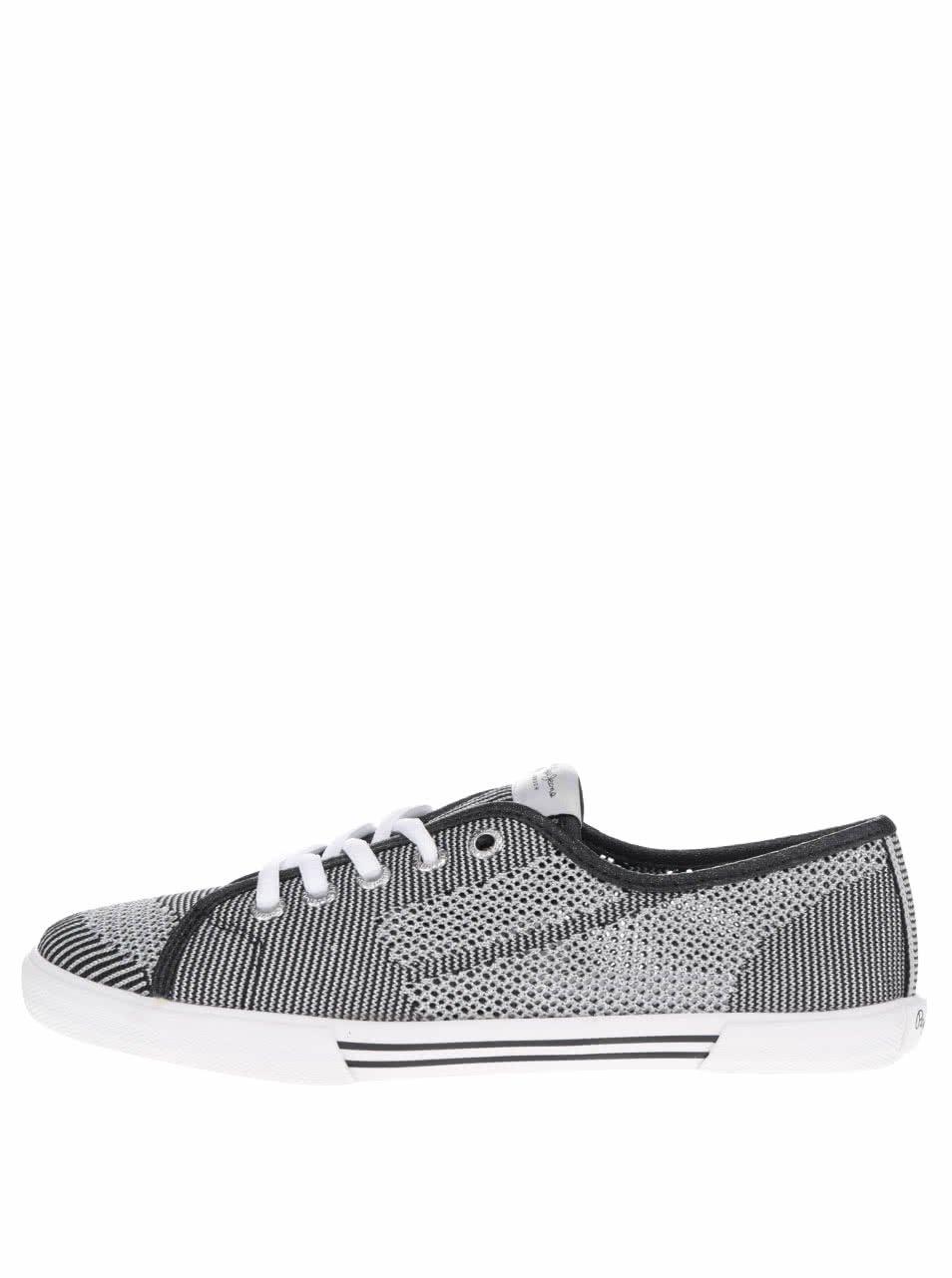 Dámské perforované tenisky ve stříbrné barvě Pepe Jeans Aberlady Fishnet