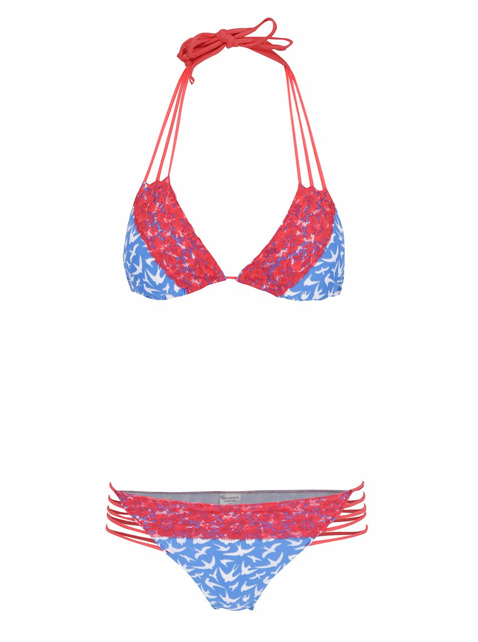 Červeno-modré vzorované dvoudílné plavky s karjkou Relleciga 7e1f414902