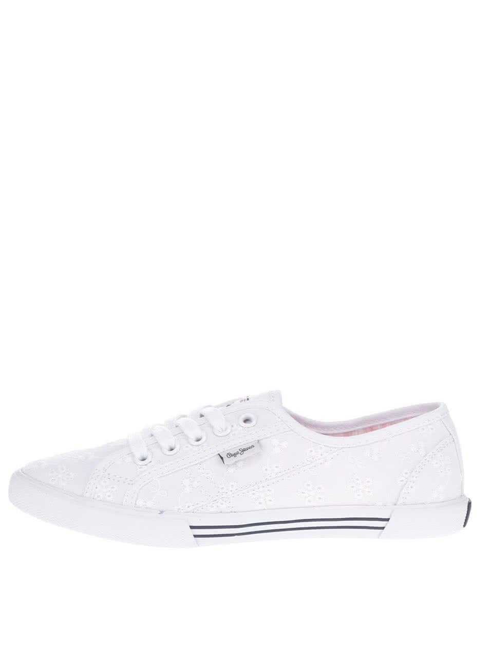 Bílé dámské tenisky s výšivkou Pepe Jeans Aberlady Anglaise