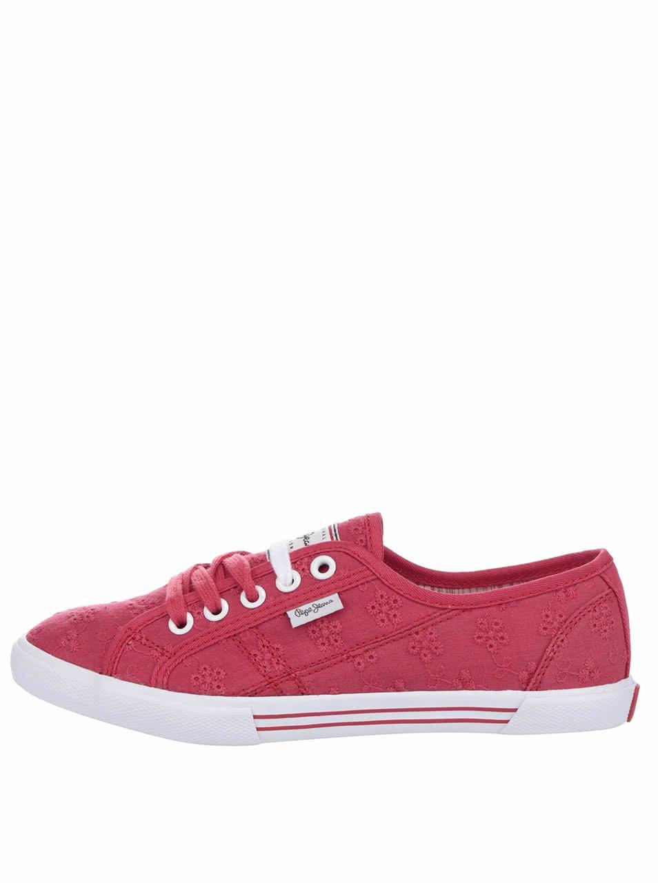 Červené dámské tenisky s výšivkou Pepe Jeans Aberlady Anglaise