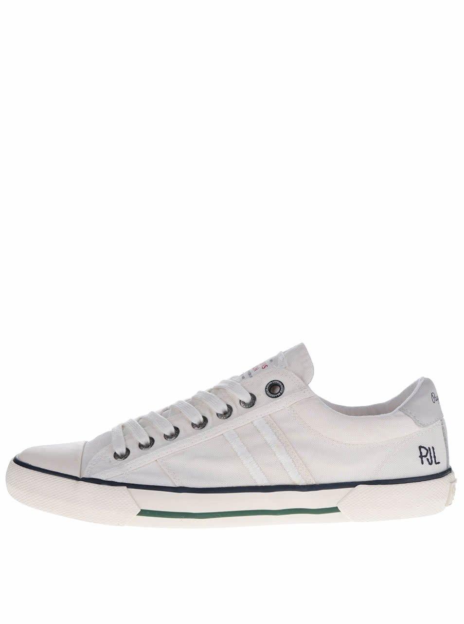 Bílé pánské tenisky s pruhy Pepe Jeans Serthi Washed