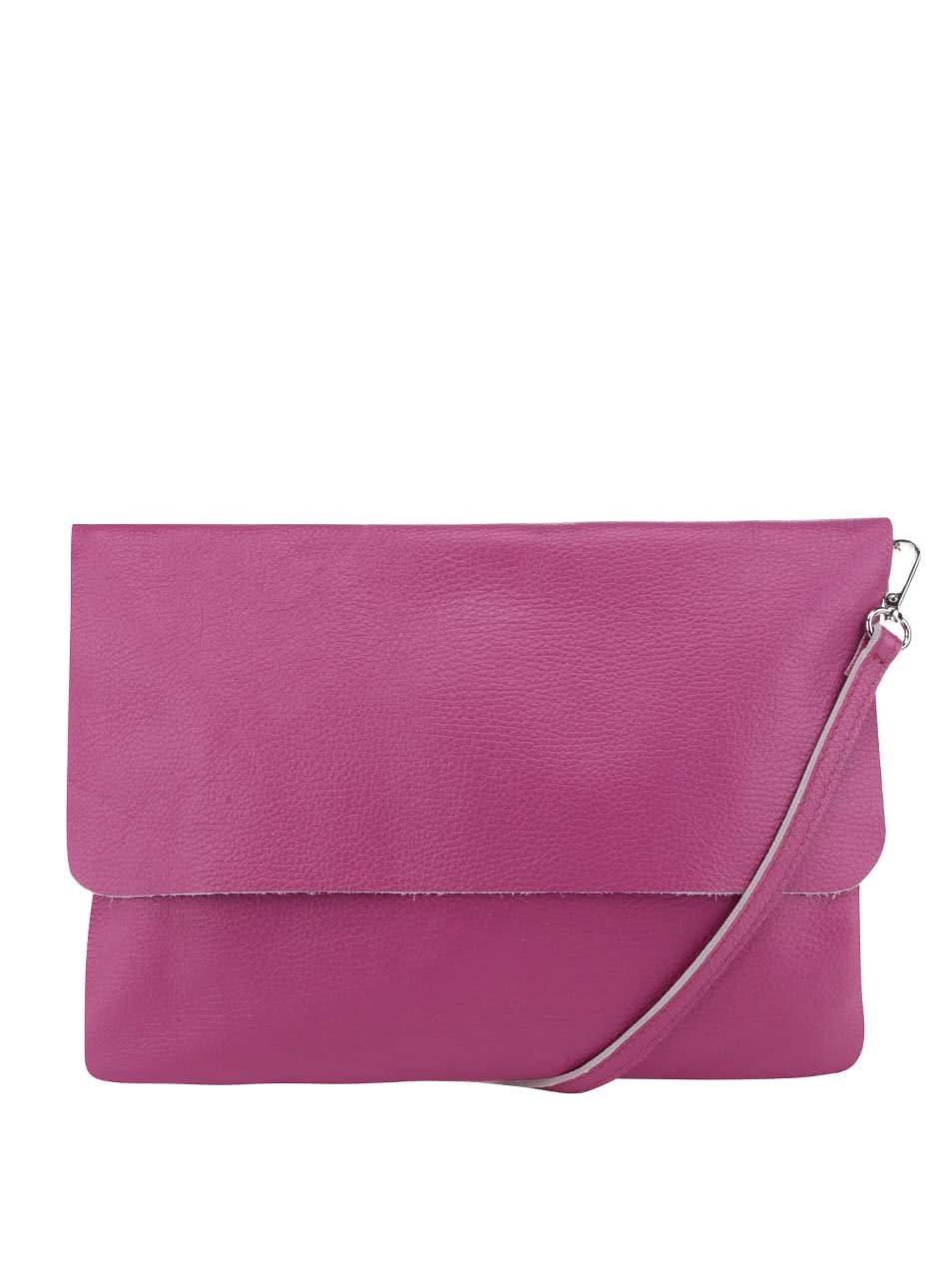 Růžová kožená crossbody kabelka/psaníčko ZOOT