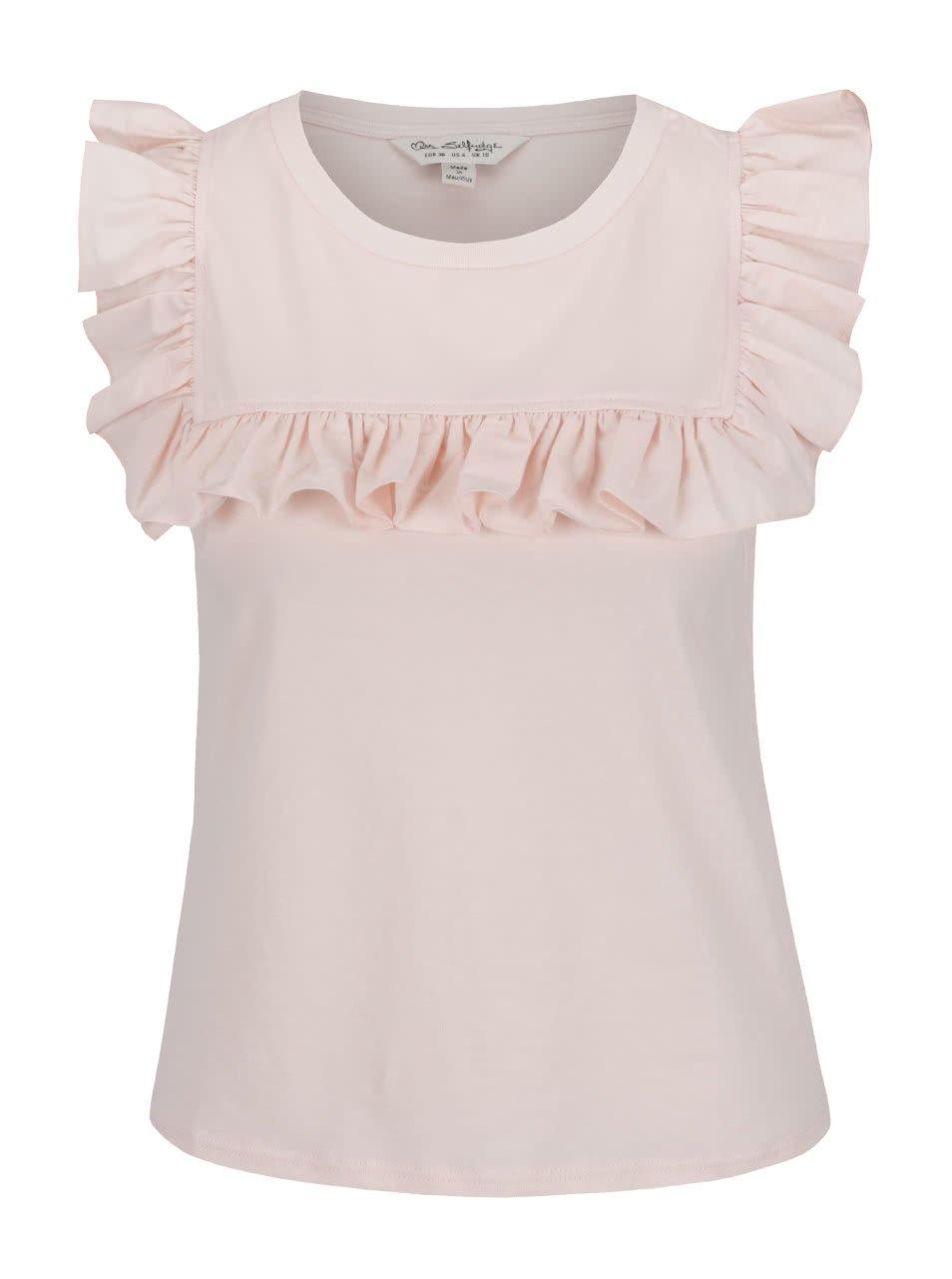 Světle růžová halenka bez rukávů s volánkem Miss Selfridge