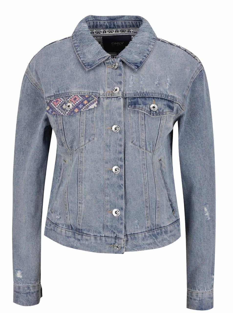 Modrá džínová bunda se vzorovanými zády ONLY Chris