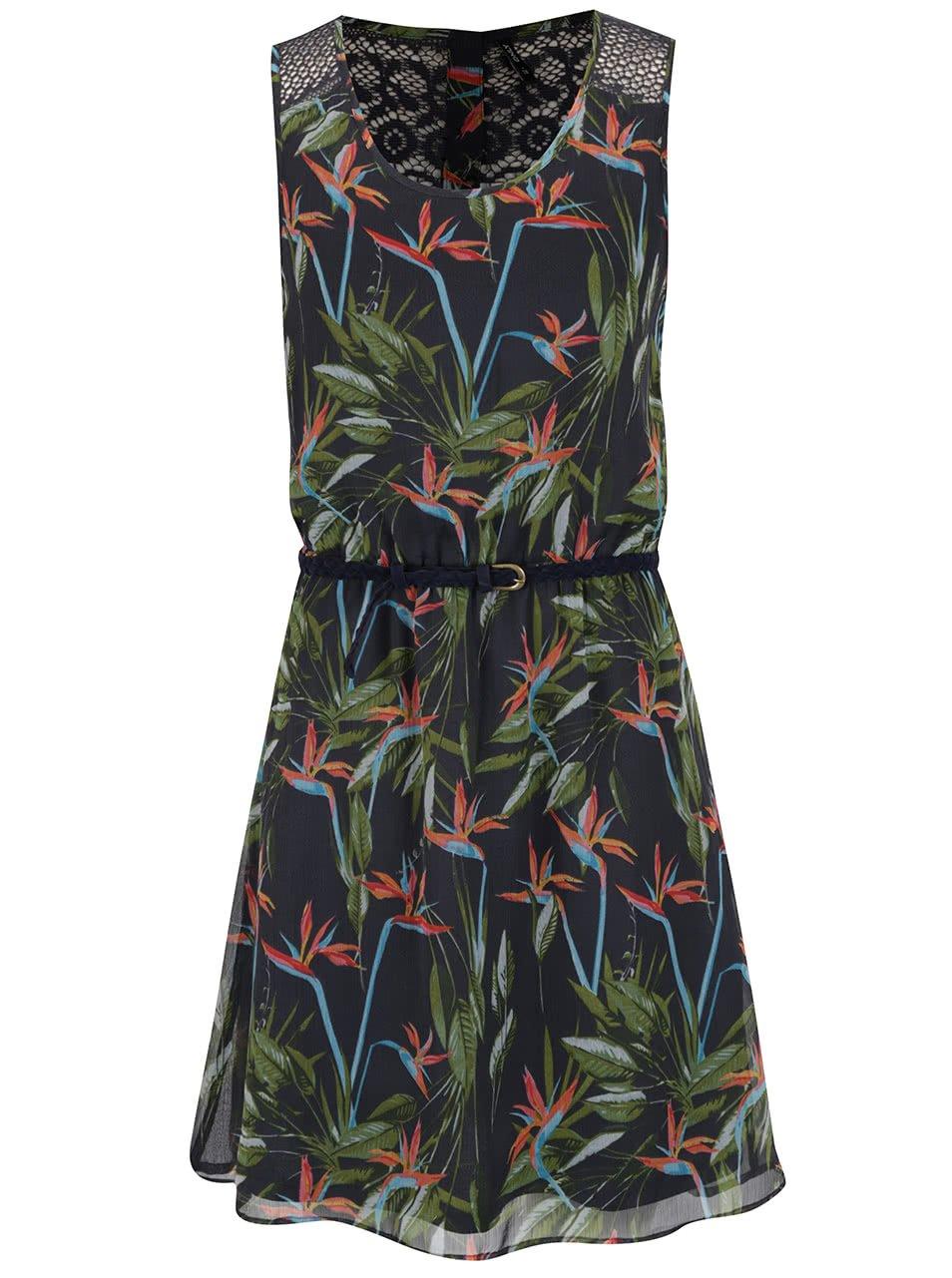 Modré květované šaty s páskem ONLY Lia