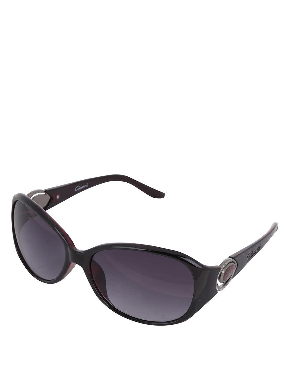Tmavě hnědé dámské sluneční brýle s kamínky Gionni