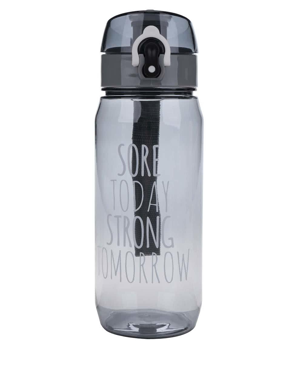 Tmavě šedá láhev na vodu s uzamykacím systémem Loooqs Sore Today