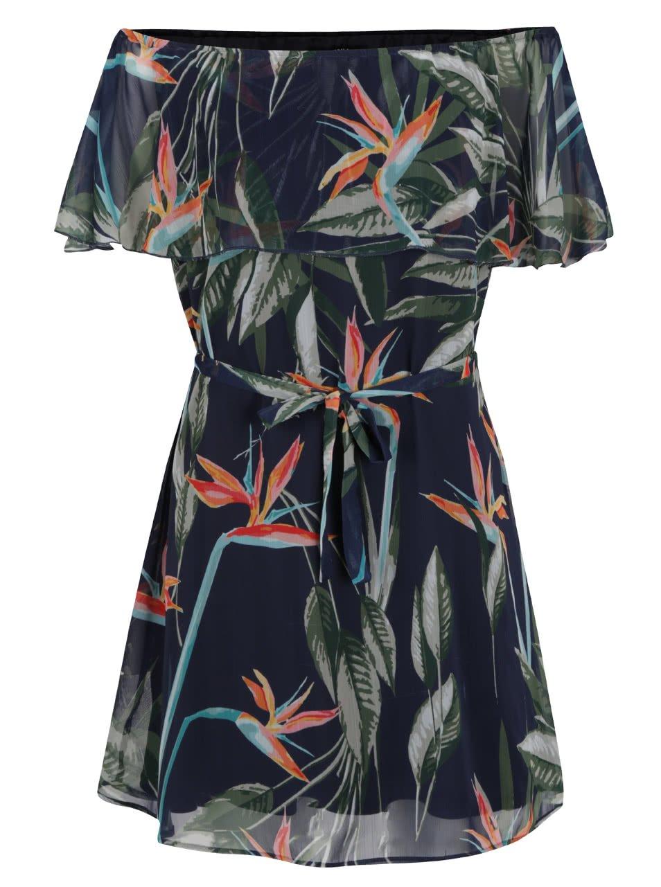 Tmavě modré vzorované šaty s odhalenými rameny ONLY Aura