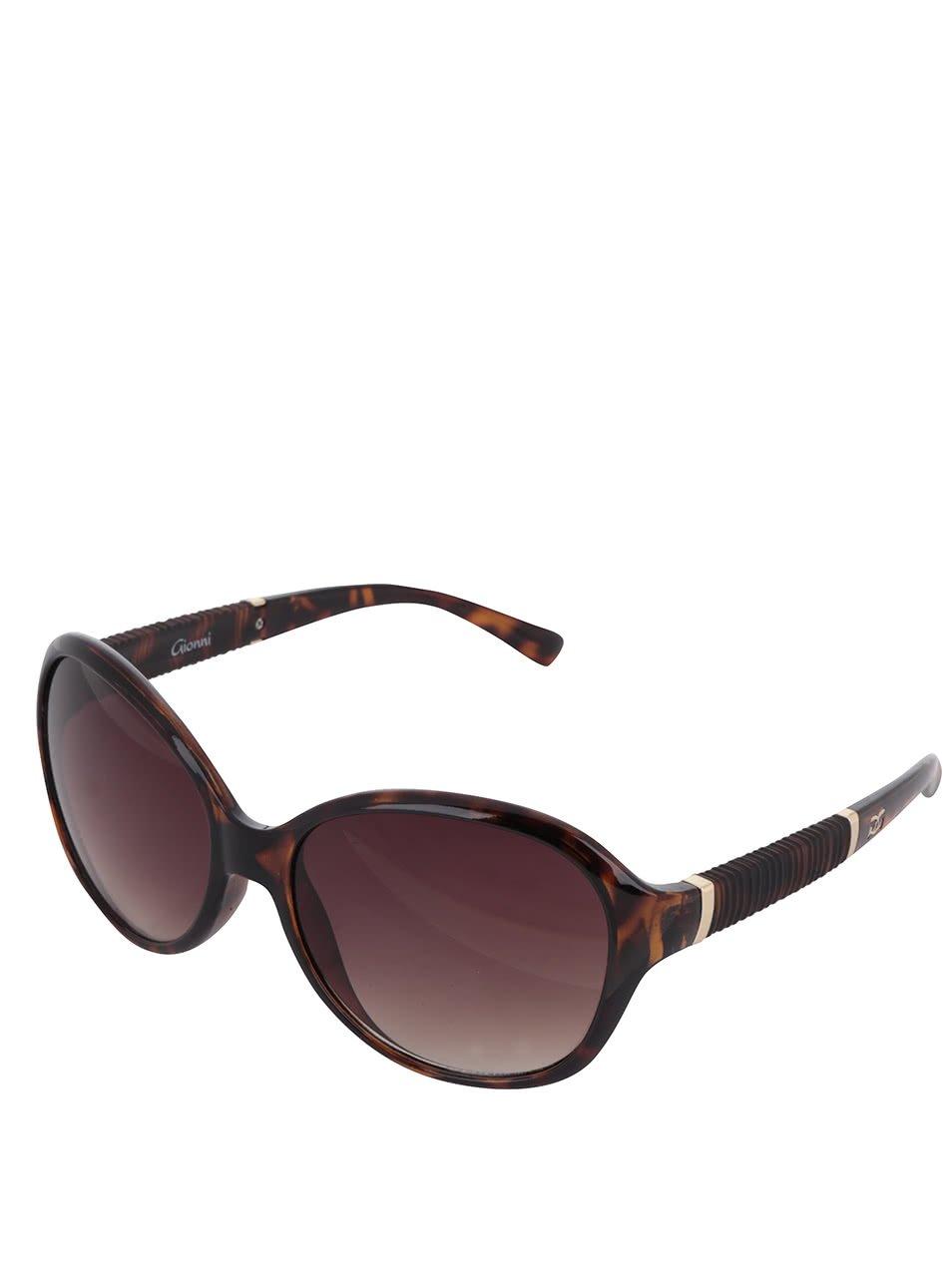 Hnědé vzorované dámské sluneční brýle Gionni