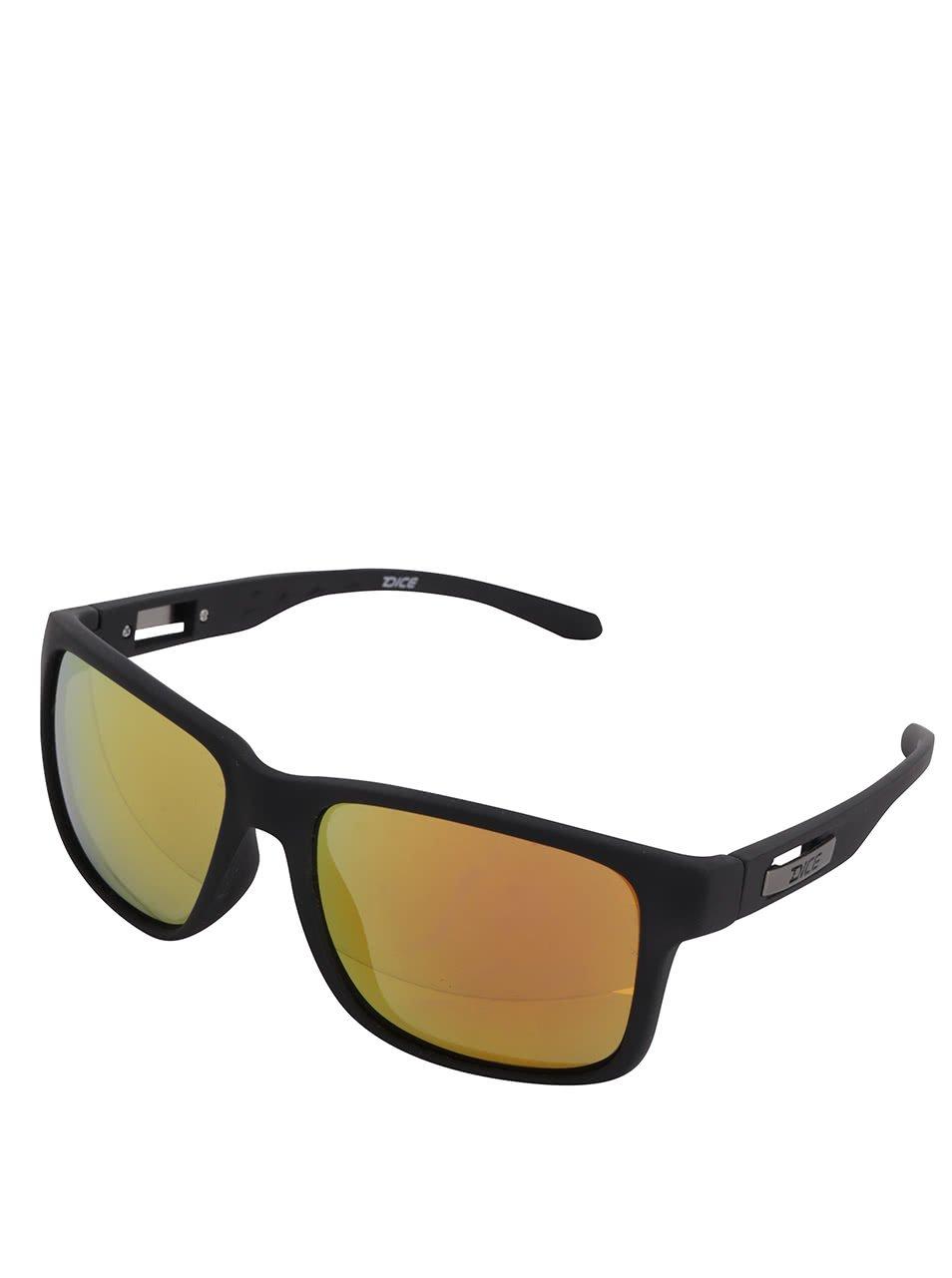 Tmavě hnědé pánské sluneční brýle se žlutými skly Dice
