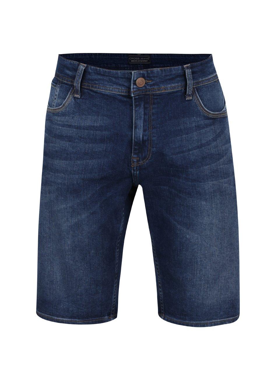 Tmavě modré pánské džínové kraťasy Cross Jeans
