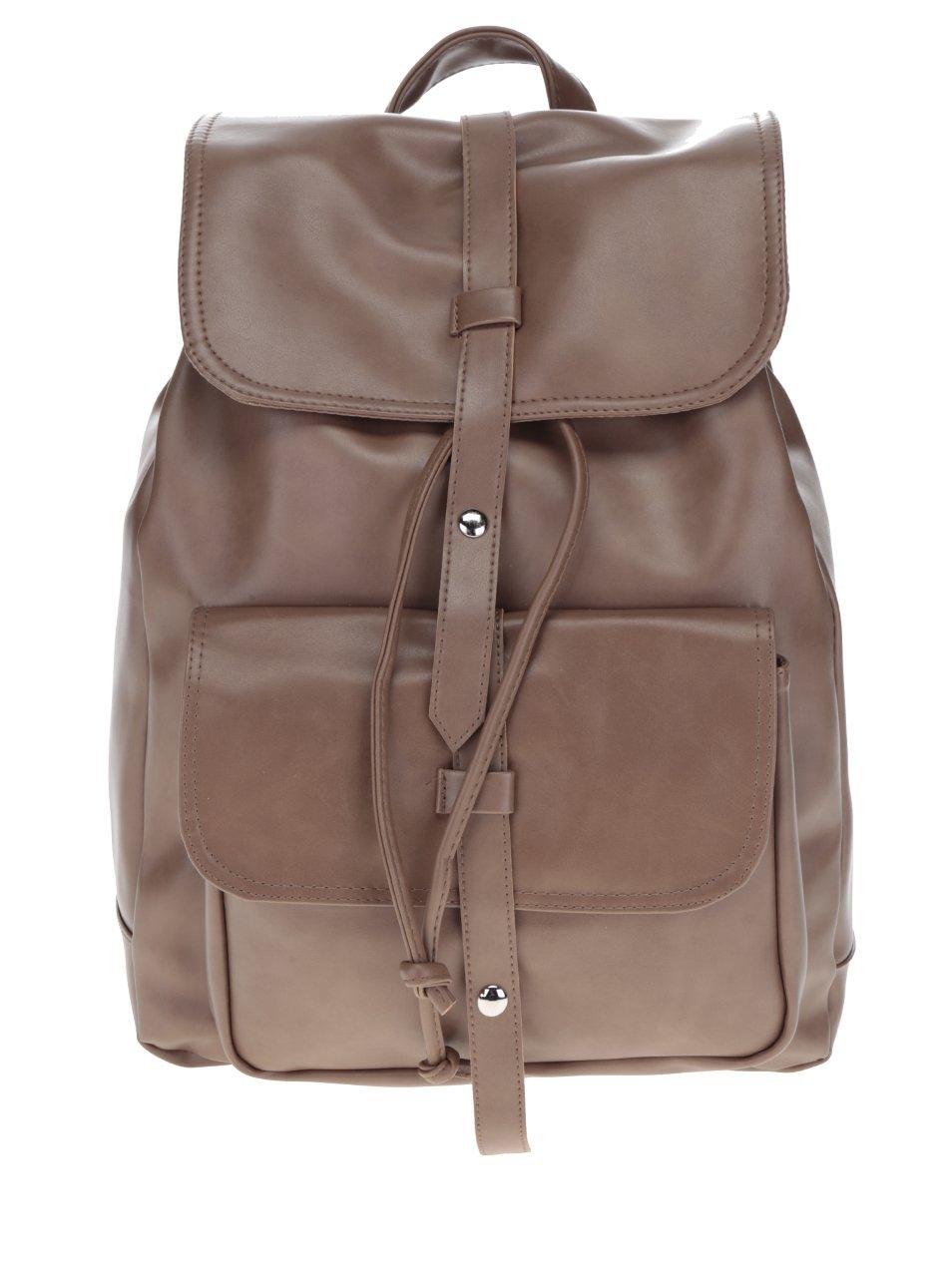 Hnědý dámský batoh s pásky ZOOT