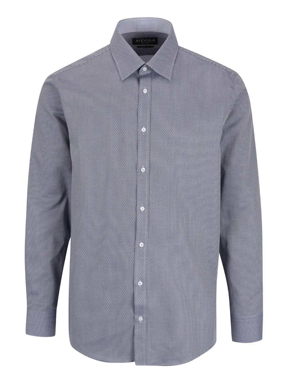 Modrá vzorovaná formální pánská slim fit košile STEVULA d3e09c1805