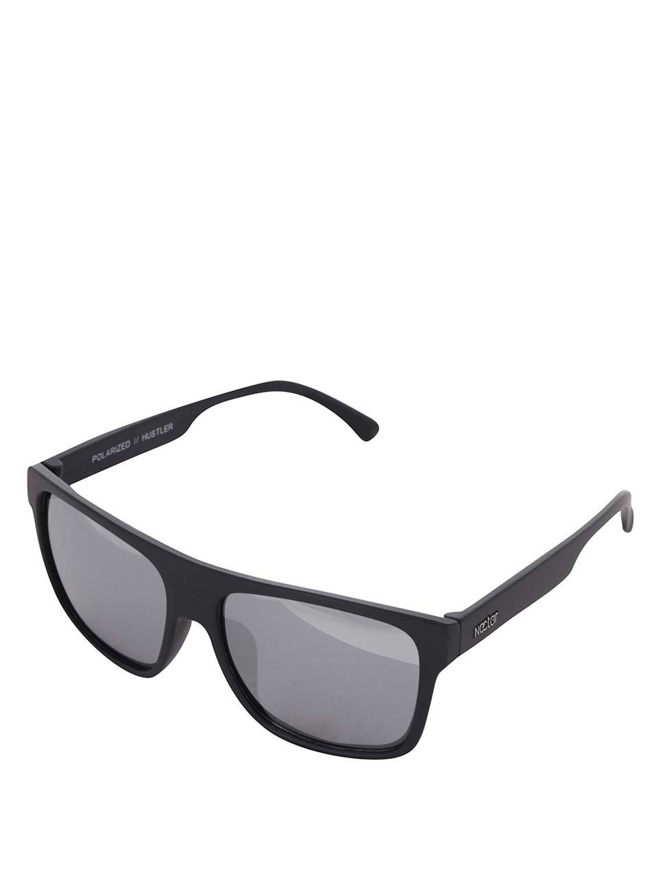Černé pánské sluneční brýle s šedými skly Nectar Highbro
