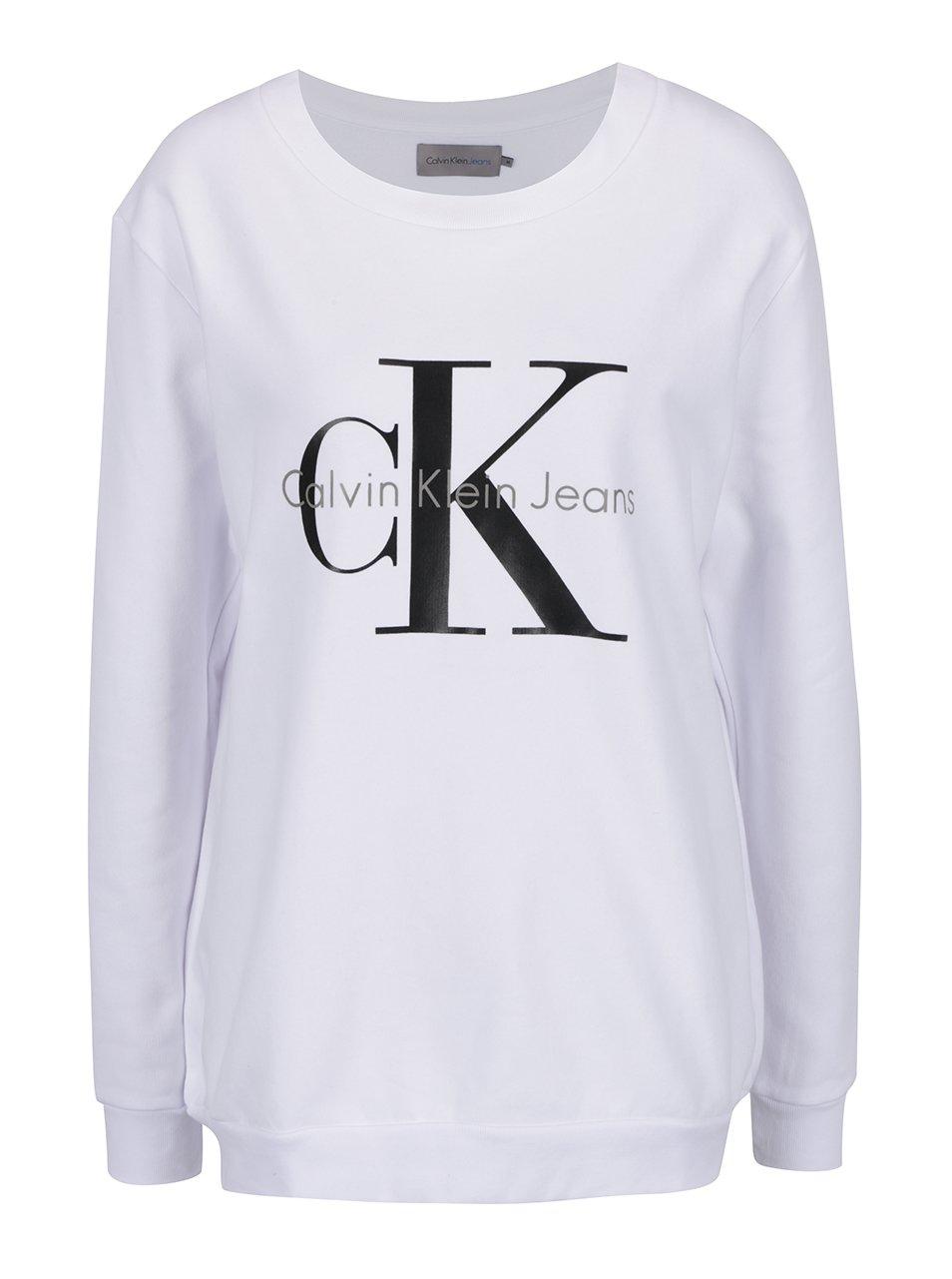 Bílá dámská mikina s potiskem v černé barvě Calvin Klein Jeans Crew