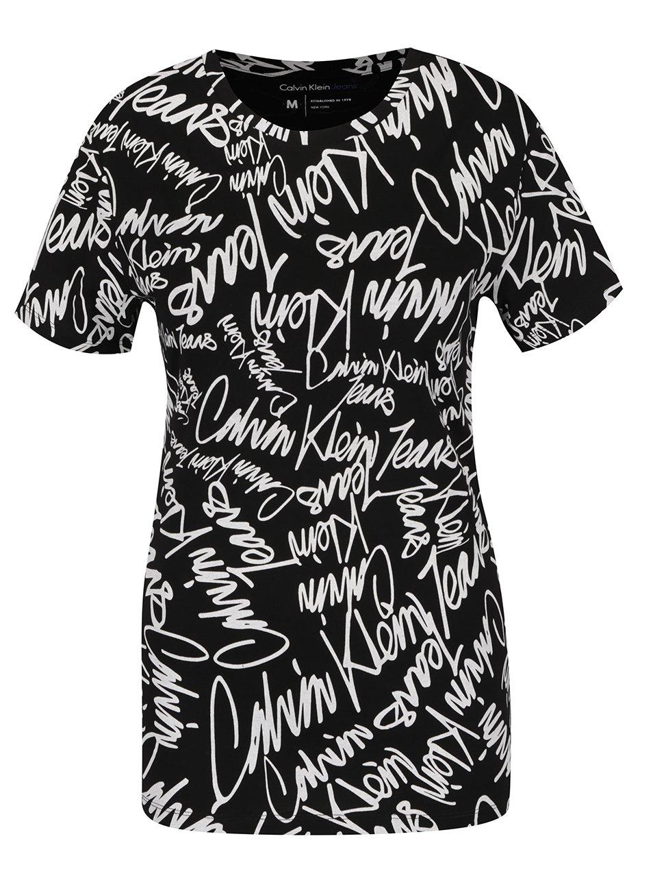 Černé vzorované dámské tričko Calvin Klein Jeans Tanya