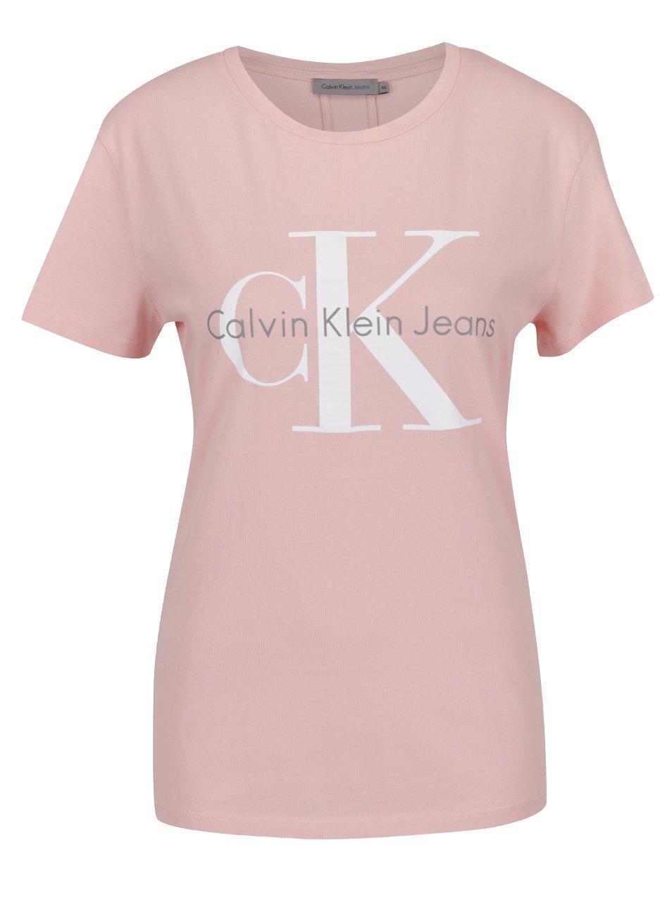 Světle růžové dámské tričko Calvin Klein Jeans Shrunken