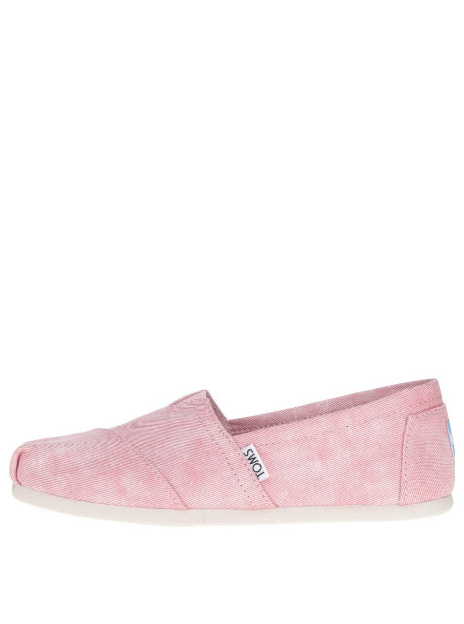 Růžové dámské žíhané loafers TOMS
