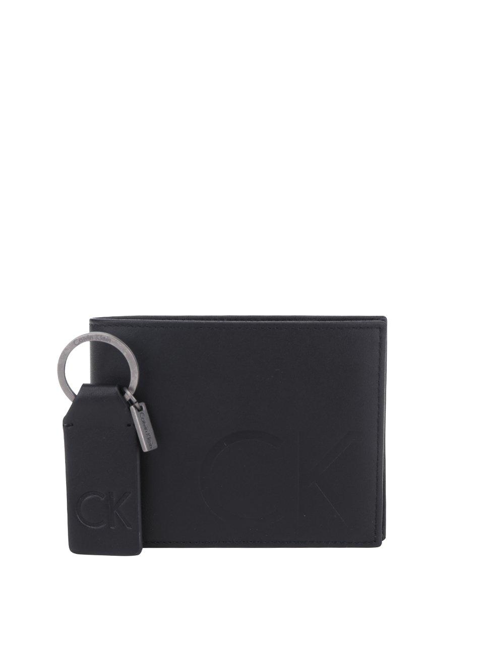Set černé pánské kožené peněženky a přívěsku na klíče Calvin Klein Jeans