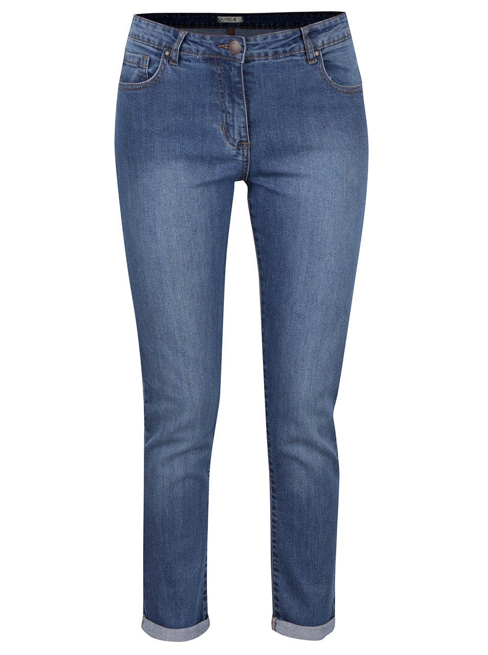 Modré džíny s vyšisovaným efektem M&Co
