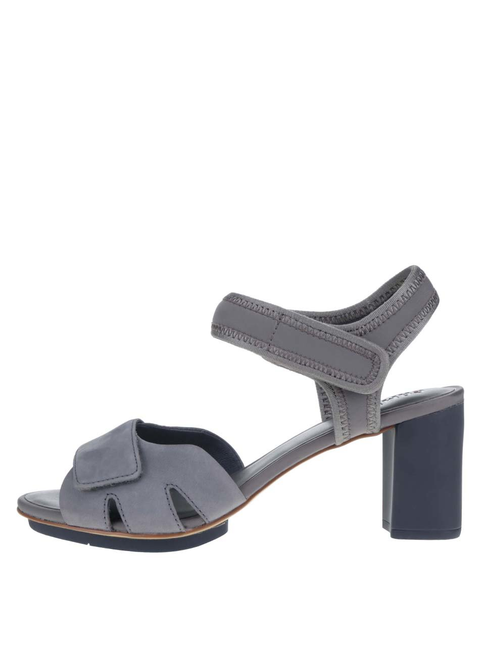Šedé kožené sandálky na podpatku Camper Myriam