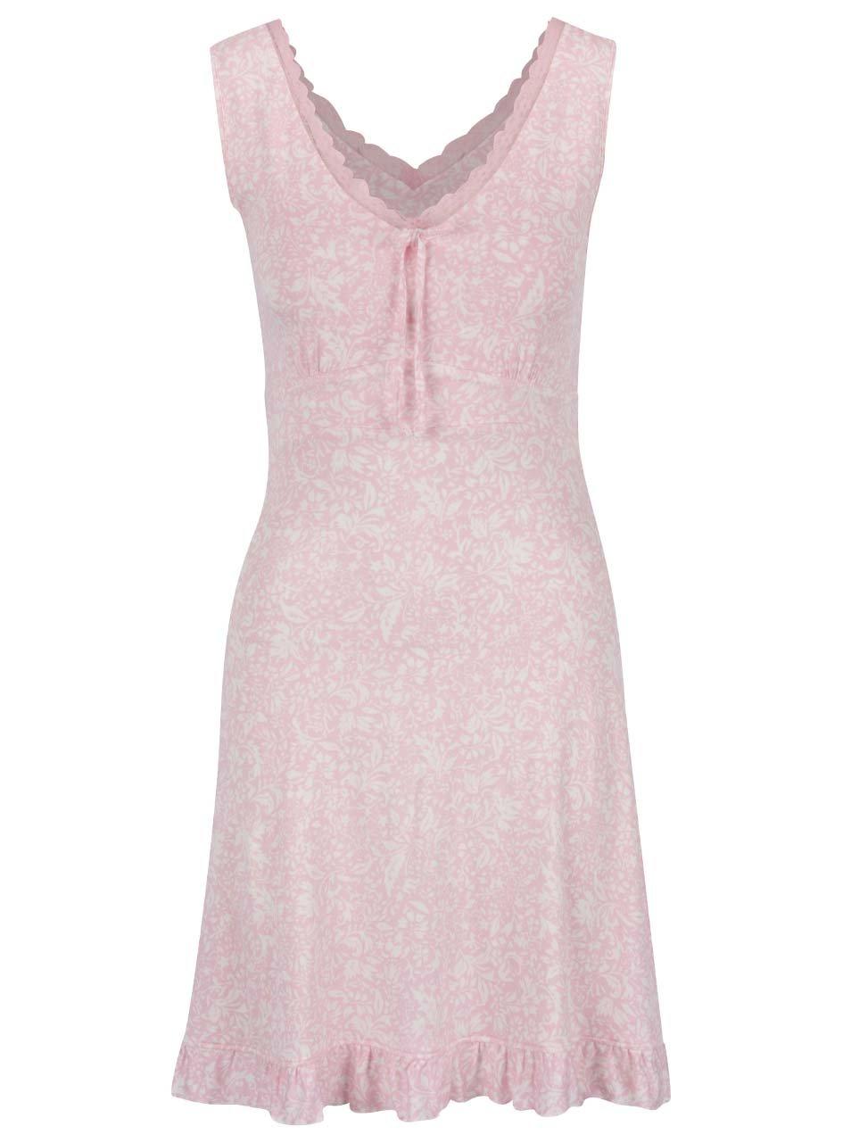 Světle růžová květovaná noční košilka s krajkovým lemem M&Co