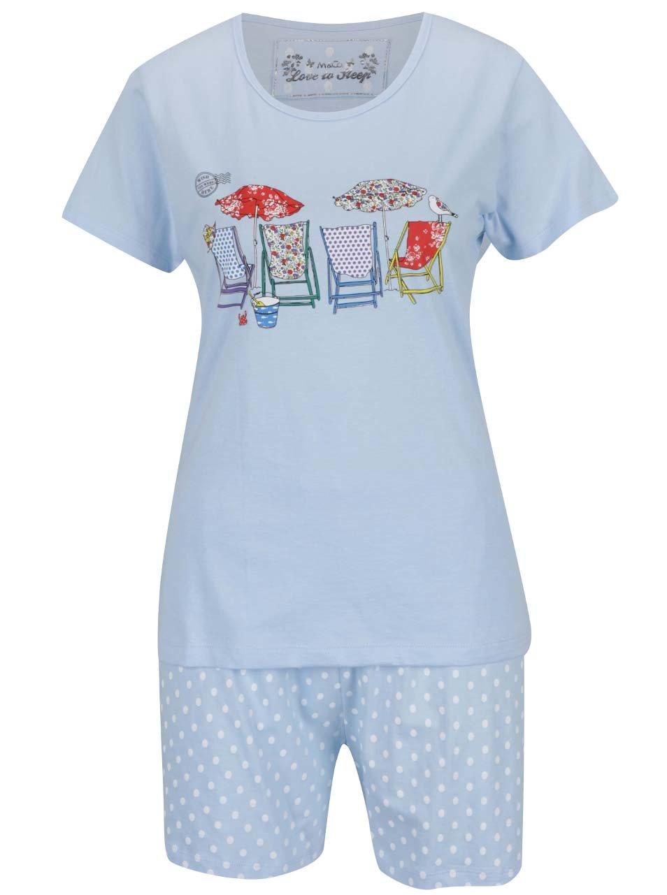 Světle modré pyžamo s potiskem M&Co
