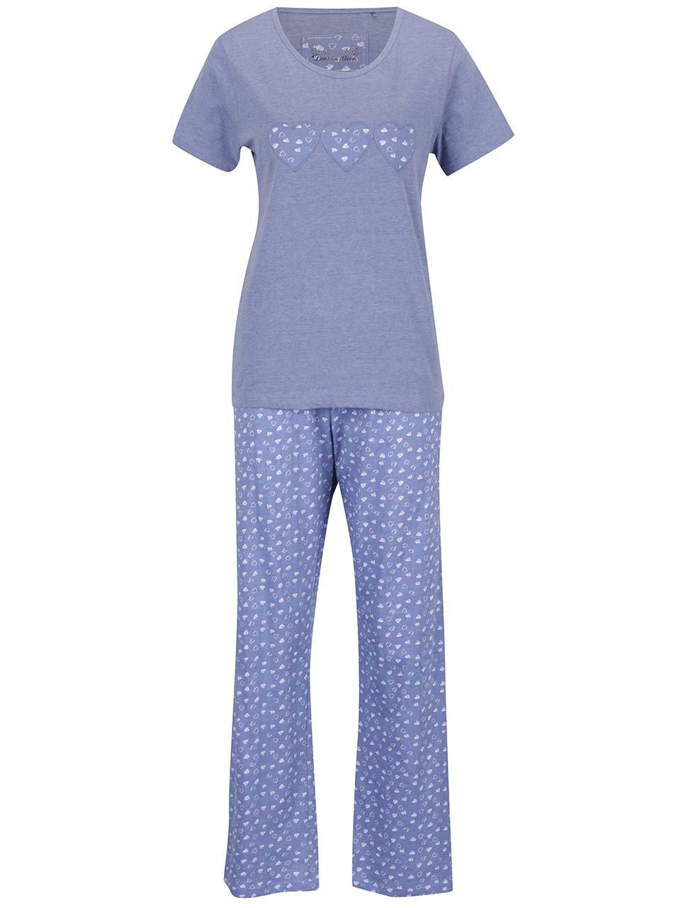 Modré dámské pyžamo s motivem srdcí M&Co