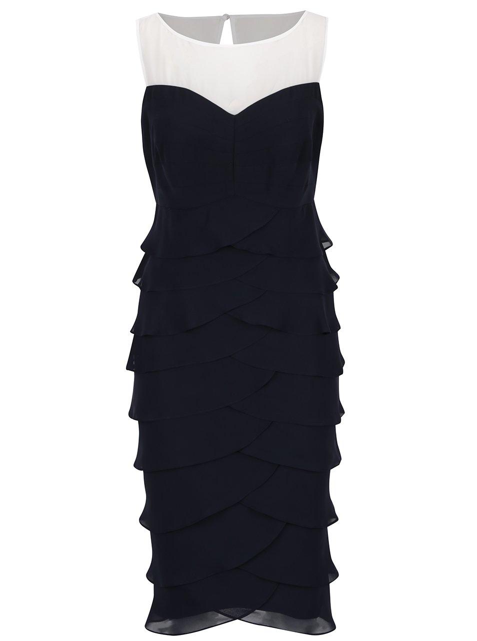 Modré pouzdrové šaty s volány M&Co