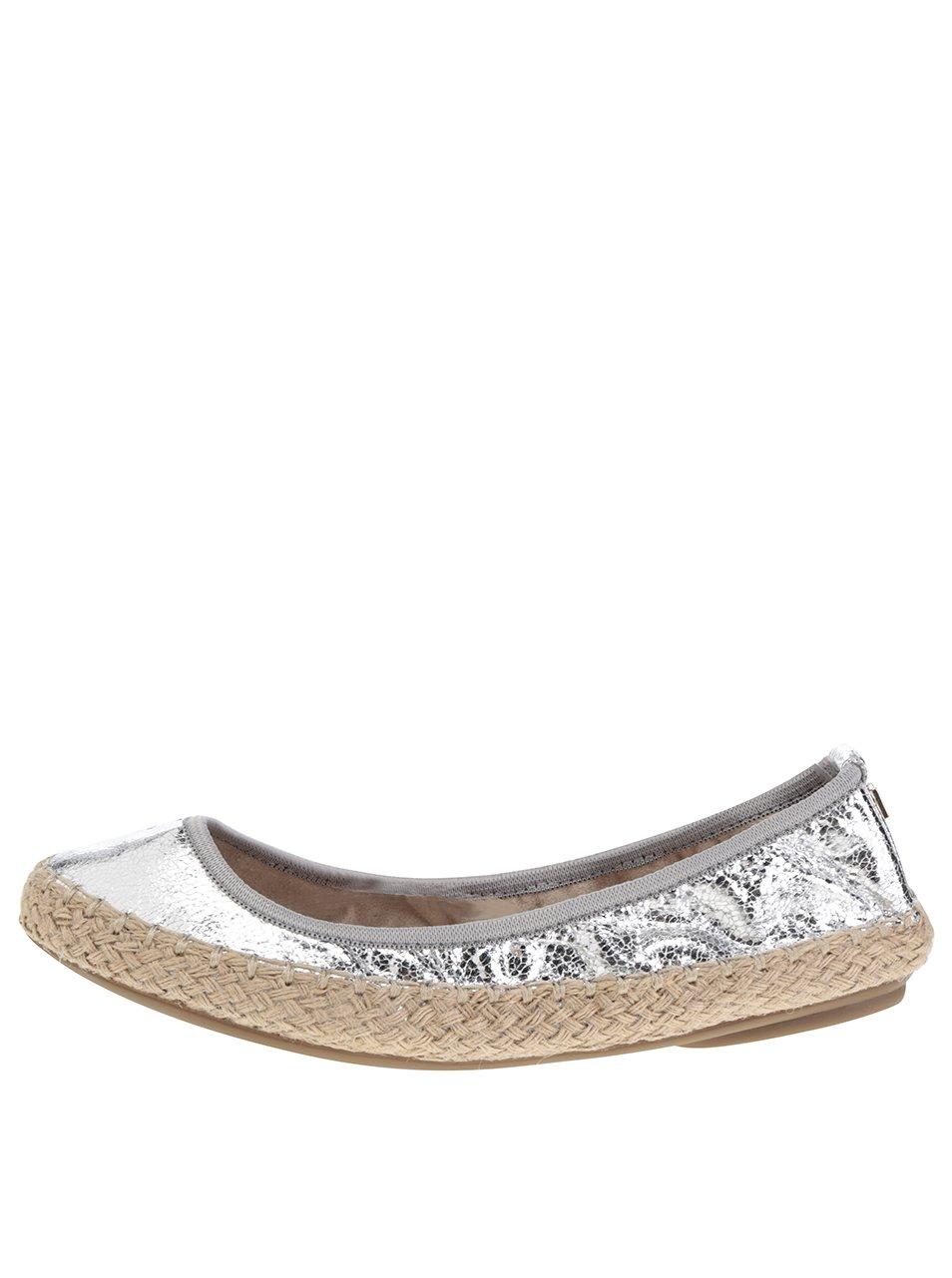 Baleríny ve stříbrné metalické barvě do kabelky Butterfly Twists Gigi
