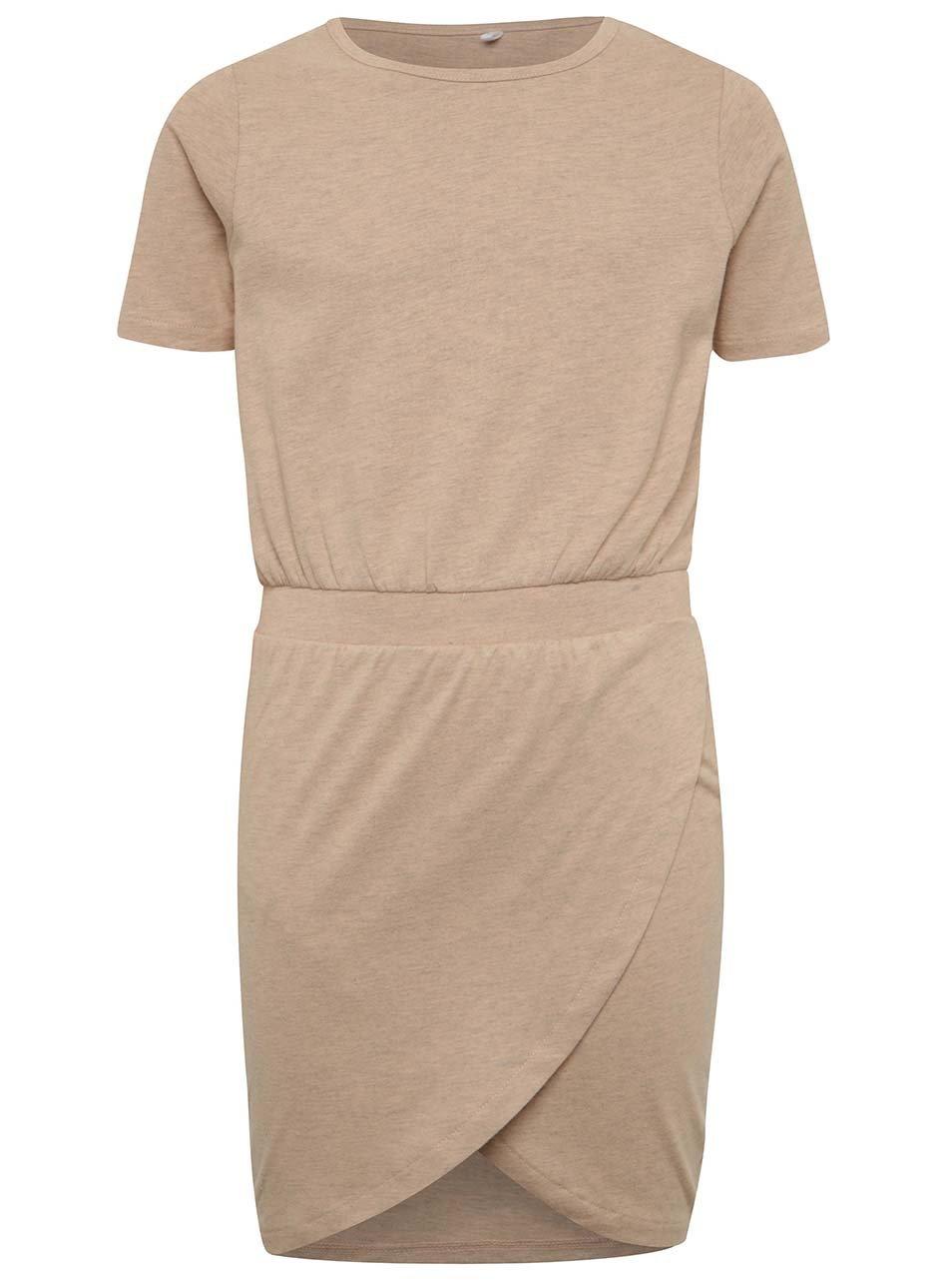 Béžové holčičí žíhané šaty s překládanou sukní LIMITED by name it Sola