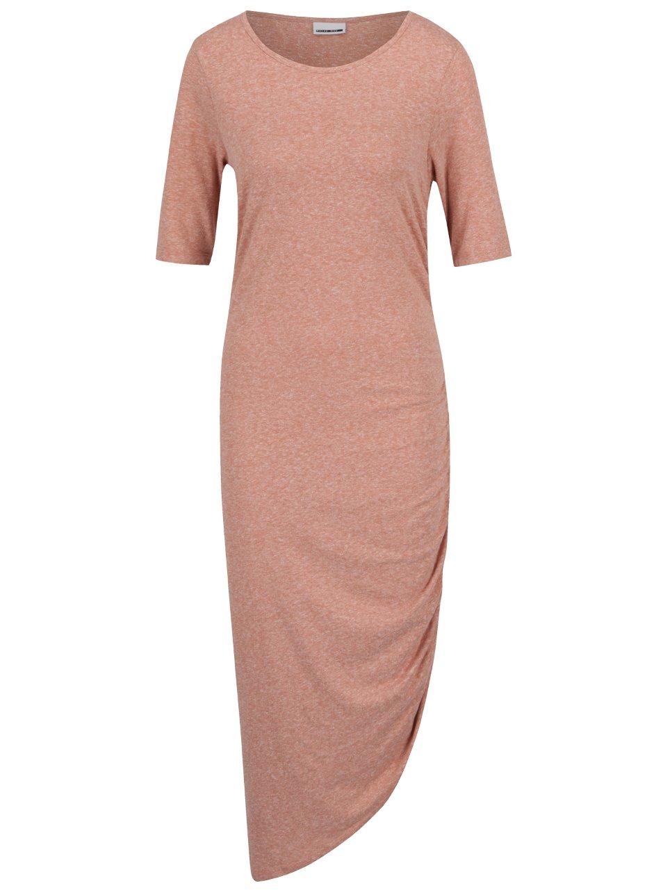 Starorůžové asymetrické žíhané šaty s řasením na boku Noisy May Ola