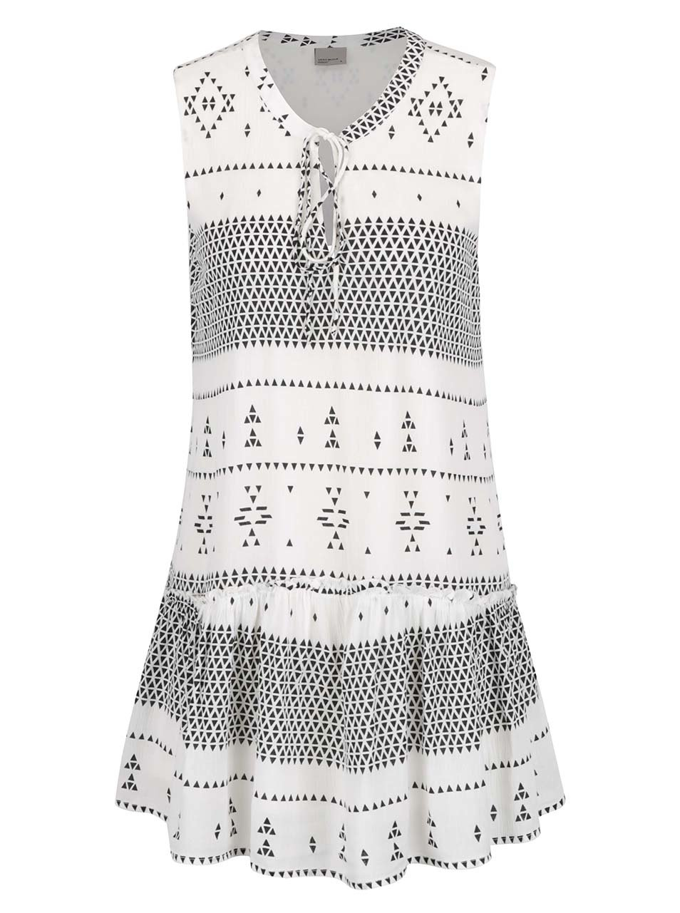 Krémové vzorované šaty se zavazováním v dekoltu VERO MODA Jamie