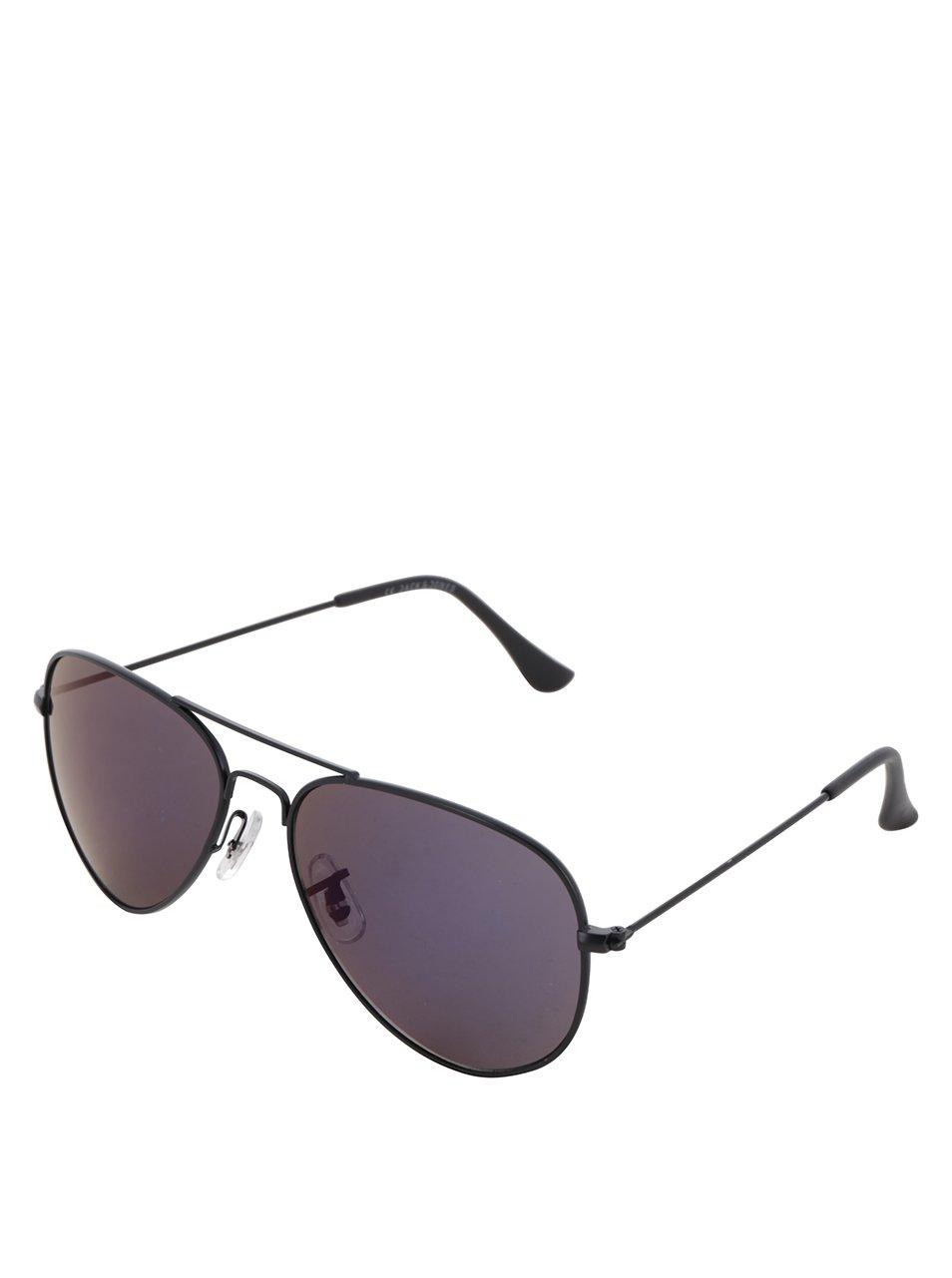 Černé sluneční brýle s modrými skly Jack & Jones Mirror