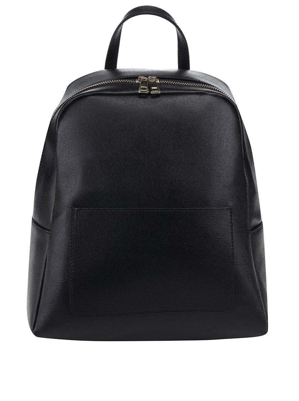 Čierny dámsky kožený batoh s vreckom na prednej strane ZOOT