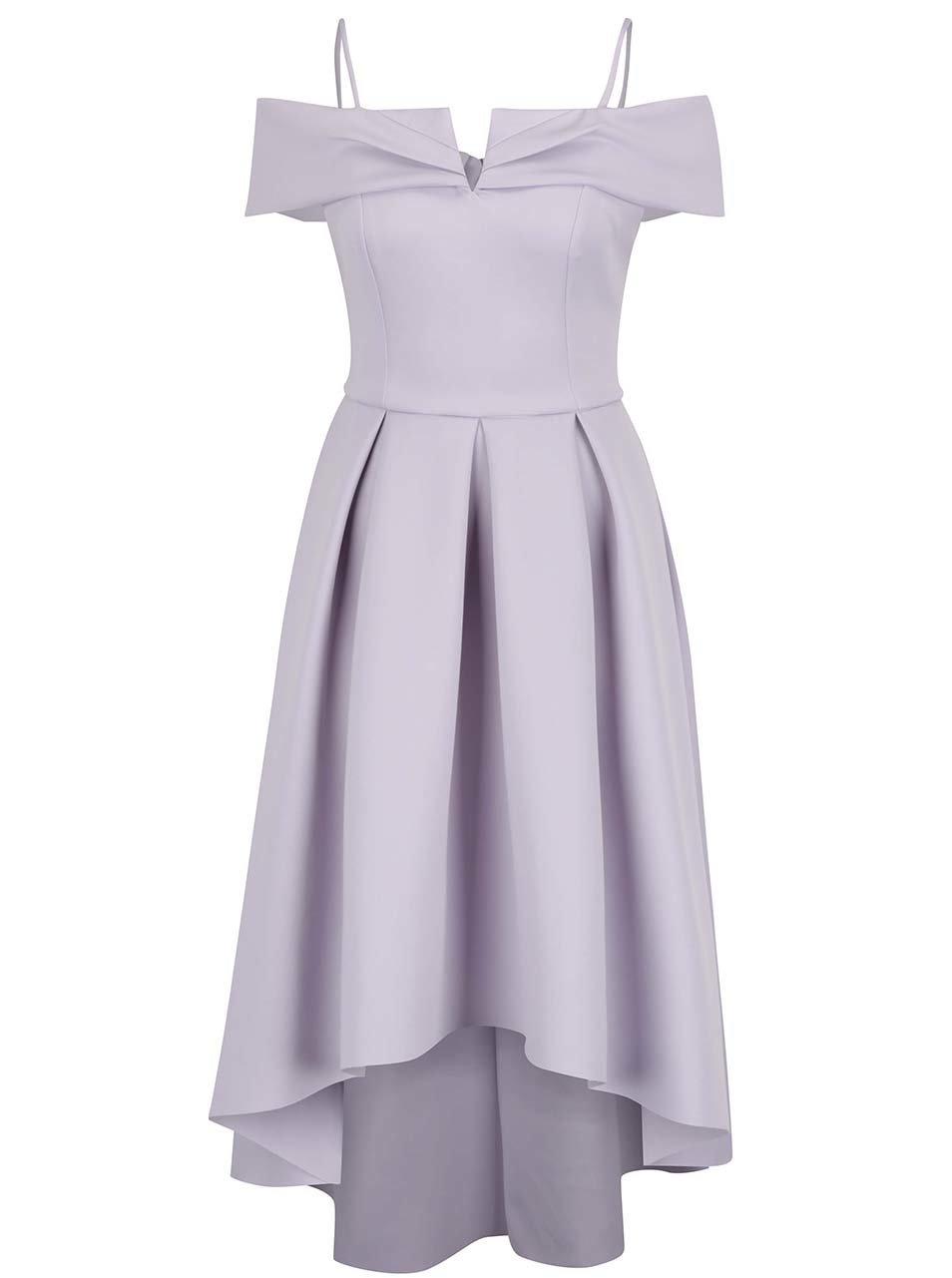 Světle fialové šaty s odhalenými rameny Miss Selfridge