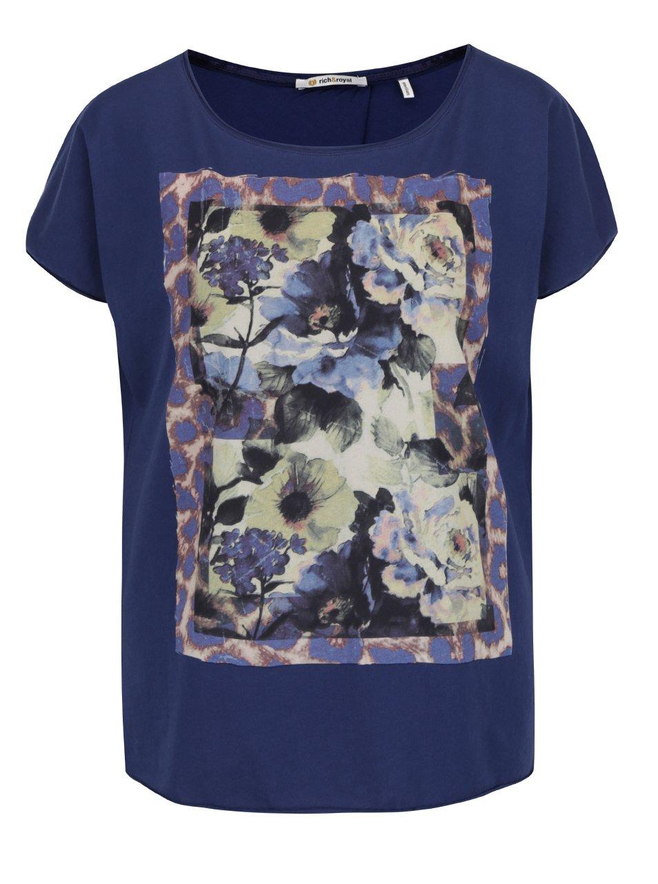 Tmavě modré tričko s potiskem Rich & Royal