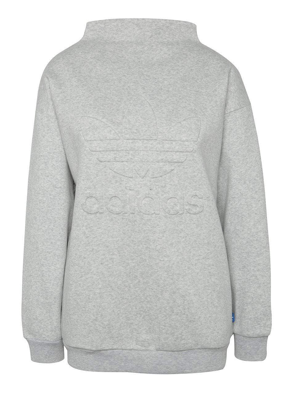 Světle šedá dámská žíhaná mikina s logem adidas Originals