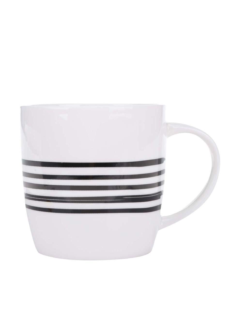 Černo-bílý porcelánový hrnek s pruhy Kitchen Craft