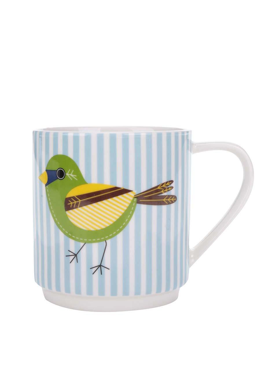 Modrý porcelánový pruhovaný hrnek s potiskem ptáka Kitchen Craft