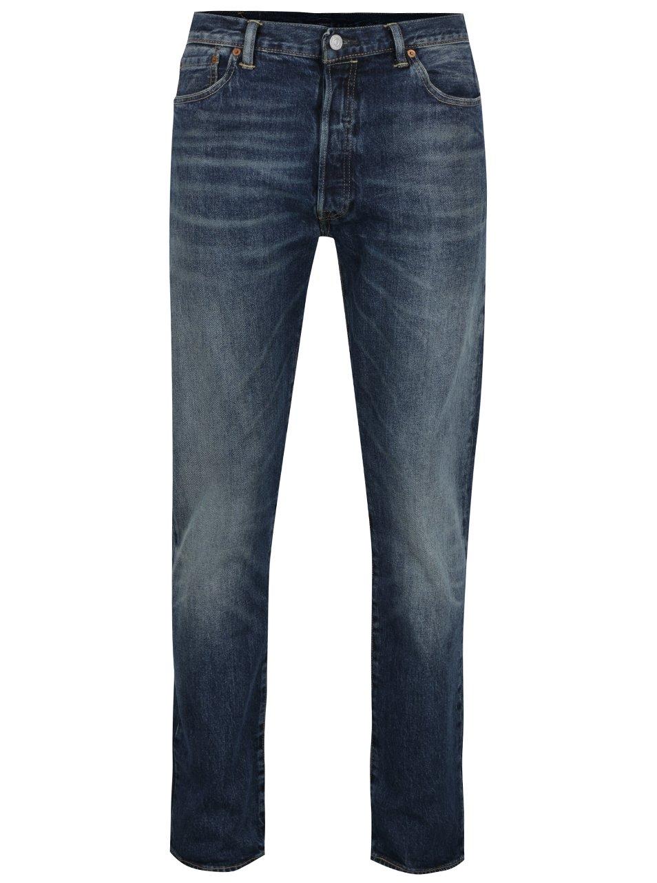 Tmavě modré pánské džíny s vyšisovaným efektem Levi's® 501™