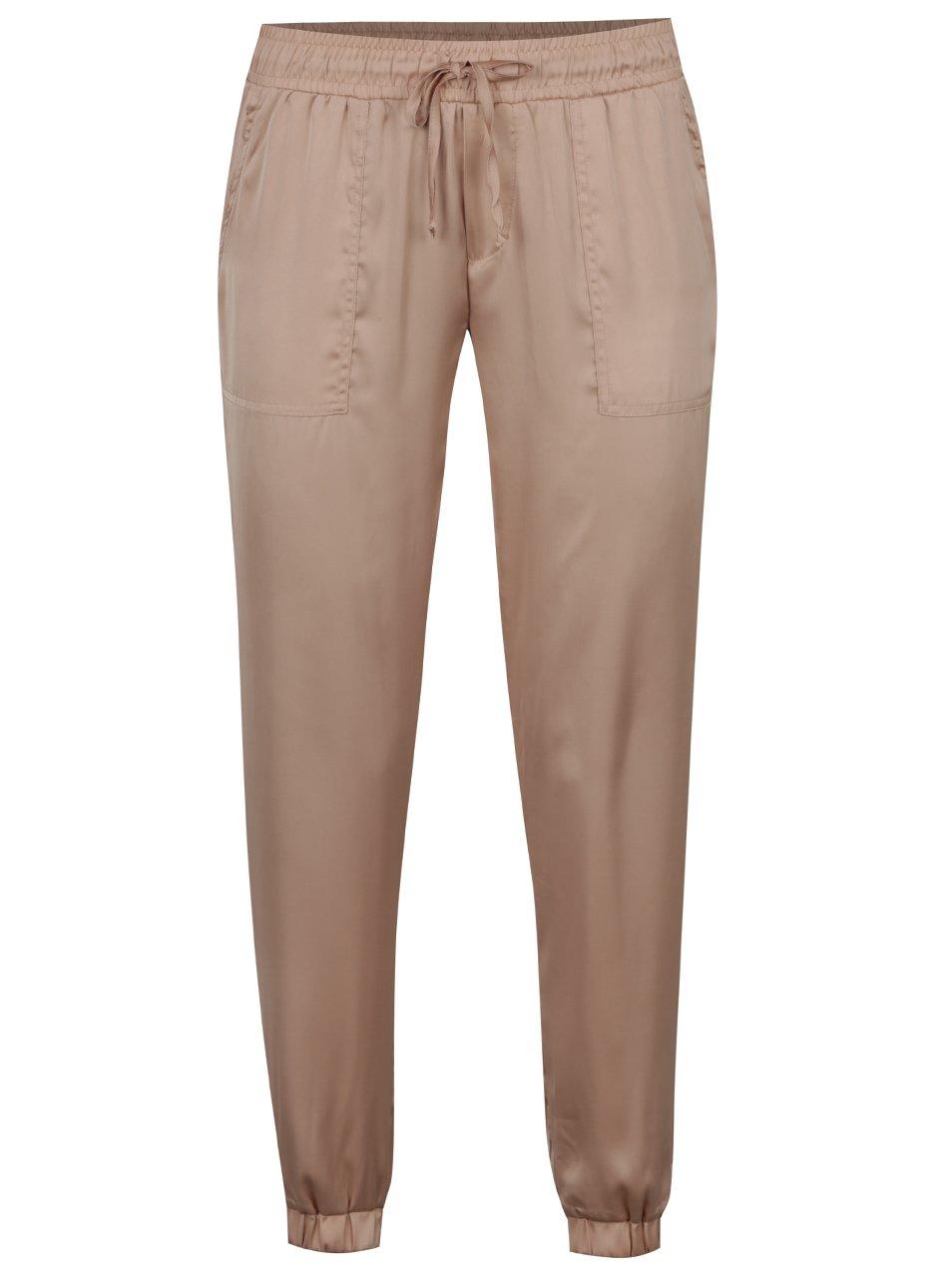 Béžové lesklé volné kalhoty s kapsami TALLY WEiJL