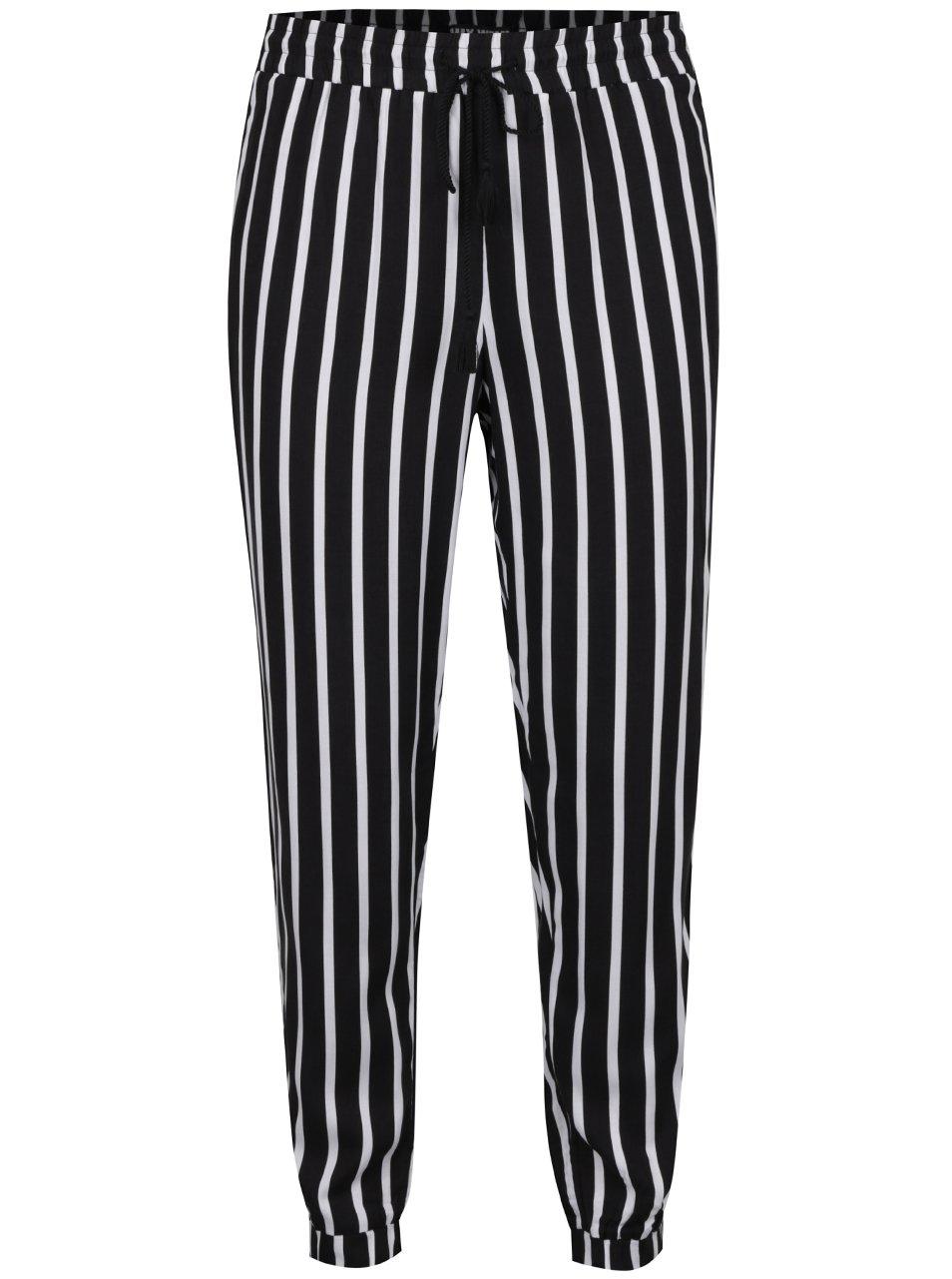 Bílo-černé pruhované volné kalhoty TALLY WEiJL