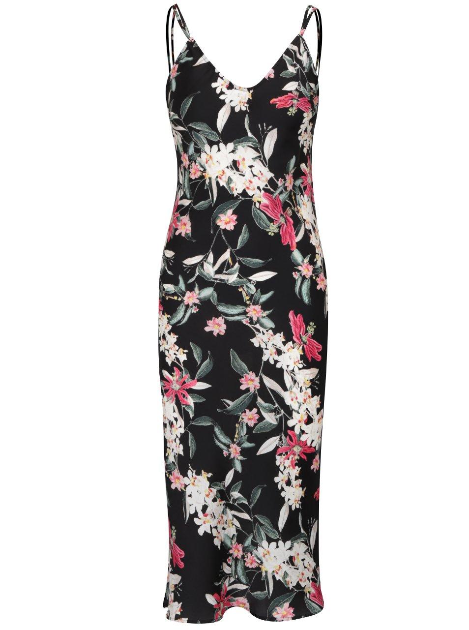 Černé květované midi šaty s pásky na zádech TALLY WEiJL