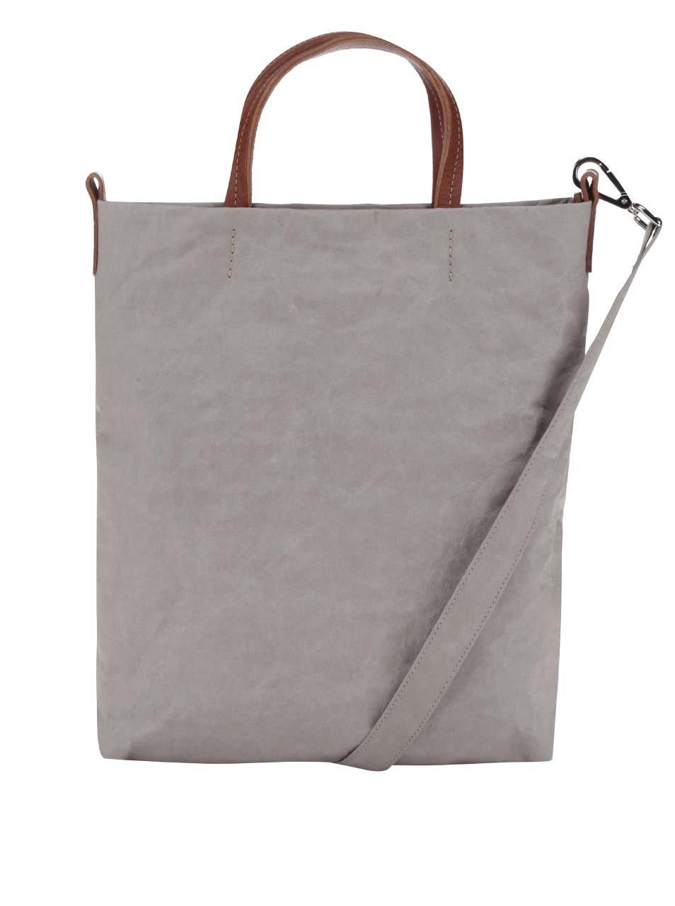 Světle šedá kabelka s koženými uchy Uashmama Carry Two