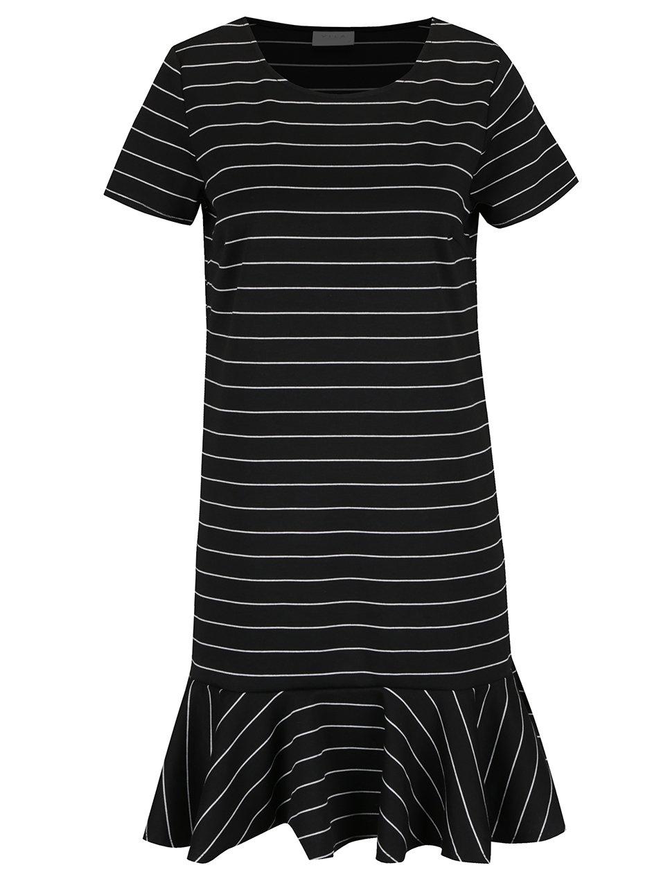 Černé volné pruhované šaty s volánem VILA Ruffle Low