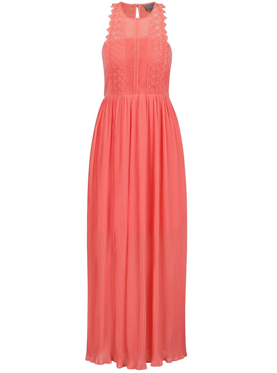 Růžové maxišaty s krajkovým zdobením a plisovanou sukní VERO MODA Celeste
